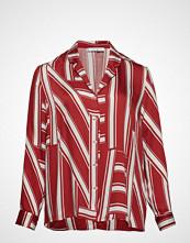 Violeta by Mango Striped Pyjama-Style Shirt Langermet Skjorte Rød VIOLETA BY MANGO