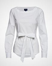 Gant D1. Tp Solid Belted Blouse Bluse Langermet Hvit GANT