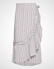 Becksöndergaard Striped Camillia Long Skirt Knelangt Skjørt Hvit BECKSÖNDERGAARD