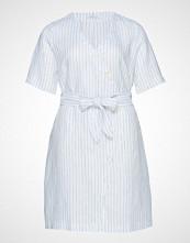 Violeta by Mango Linen Wrap Dress Knelang Kjole Hvit VIOLETA BY MANGO