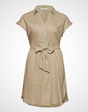 Violeta by Mango Butt D Linen-Blend Dress Knelang Kjole Beige VIOLETA BY MANGO