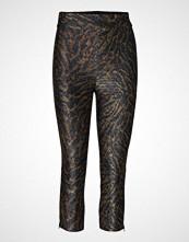 Ganni Lurex Jersey Leggings Bukser Med Rette Ben Brun GANNI