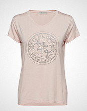 GUESS Jeans Ss Vn Glitter Stamp Tee T-shirts & Tops Short-sleeved Rosa GUESS JEANS