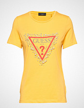 GUESS Jeans Ss Cn Pearls Tee T-shirts & Tops Short-sleeved Gul GUESS JEANS