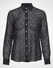 Gant D1. Breezy Harvest Cotton Silk Bluse Langermet Blå GANT