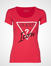 GUESS Jeans Ss Cn Icon Tee T-shirts & Tops Short-sleeved Rød GUESS JEANS