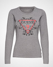 GUESS Jeans Ls Cn Roses Tee T-shirts & Tops Long-sleeved Grå GUESS JEANS