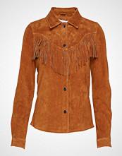 Only Onlmani Suede Frill Shirt Wvn Langermet Skjorte Brun ONLY