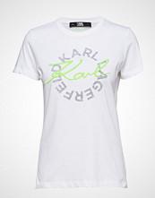 Karl Lagerfeld Neon Lights Dbl Logo T-Shirt T-shirts & Tops Short-sleeved Hvit KARL LAGERFELD