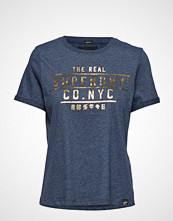 Superdry Premium Nyc Foil Boxy Tee T-shirts & Tops Short-sleeved Blå SUPERDRY