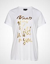 Zizzi Xfender, S/S, T-Shirt T-shirts & Tops Short-sleeved Hvit ZIZZI