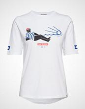 Scotch & Soda Longer Length Short Sleeve Tee In Various Prints T-shirts & Tops Short-sleeved Hvit SCOTCH & SODA