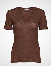 Filippa K Deep V-Neck Linen Tee T-shirts & Tops Short-sleeved Brun FILIPPA K