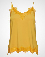 Coster Copenhagen Strap Top W. Lace T-shirts & Tops Sleeveless Gul COSTER COPENHAGEN