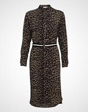 Saint Tropez Woven Dress Under Knee L/S Knelang Kjole Brun SAINT TROPEZ