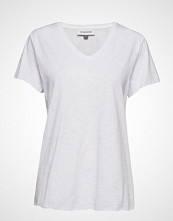 Denim Hunter Dhluz V Neck Tee Slub Yarn Jersey T-shirts & Tops Short-sleeved Hvit DENIM HUNTER