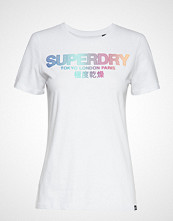 Superdry City Nights Ombre Puff Entry Tee T-shirts & Tops Short-sleeved Hvit SUPERDRY