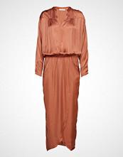 Rabens Saloner Solid Wrap Over Dress L/S Knelang Kjole Oransje RABENS SAL R