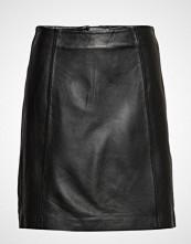 Selected Femme Slfbimi Mw Leather Skirt B Kort Skjørt Svart SELECTED FEMME