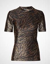 Ganni Lurex Jersey T-Shirt T-shirts & Tops Short-sleeved Brun GANNI