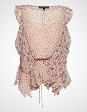 French Connection Celestia Sheer Frilly Sleeveless Top Bluse Ermeløs Rosa FRENCH CONNECTION