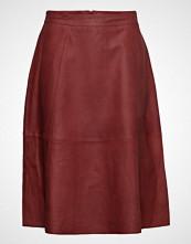 Selected Femme Slfmarla Hw Midi Leather Skirt B Knelangt Skjørt Rød SELECTED FEMME