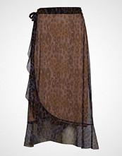 Coster Copenhagen Skirt In Tiger Print W. Wrap Effect Knelangt Skjørt Multi/mønstret COSTER COPENHAGEN