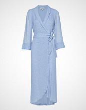 Ganni Printed Georgette Wrap Dress Maxikjole Festkjole Blå GANNI