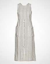 Mango Striped Linen Dress Knelang Kjole Creme MANGO
