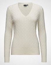 Park Lane Cable V-Neck Pullover Strikket Genser Creme PARK LANE