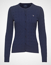 Gant Stretch Cotton Cable Crew Cardigan Strikkegenser Cardigan Blå GANT