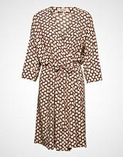 Mos Mosh Erika Graphic Dress Knelang Kjole Beige MOS MOSH