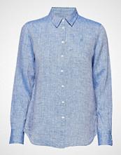Morris Lady Kirsten Linen Shirt Langermet Skjorte Blå MORRIS LADY