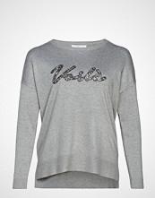 Violeta by Mango Sequin Message Sweater Strikket Genser Grå VIOLETA BY MANGO