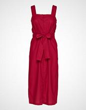 Mango Linen Strap Dress Knelang Kjole Rød MANGO