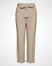 Gina Tricot Therese Paperbag Linen Trousers Vide Bukser Beige GINA TRICOT