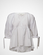 3.1 Phillip Lim V Neck Cotton Poplin Empire Top Bluse Kortermet Hvit 3.1 PHILLIP LIM