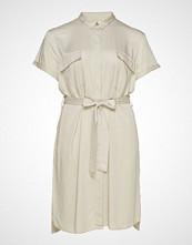 Violeta by Mango Belt Shirt Dress Knelang Kjole Beige VIOLETA BY MANGO