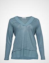 Violeta by Mango Mixed Linen-Blend T-Shirt T-shirts & Tops Long-sleeved Blå VIOLETA BY MANGO