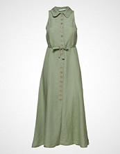 Mango Butt D Linen-Blend Dress Knelang Kjole Grønn MANGO