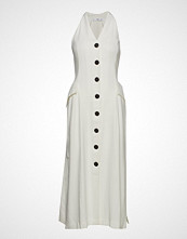 Mango Contrast Buttons Dress Knelang Kjole Hvit MANGO