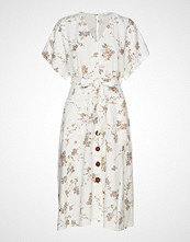 Mango Midi Printed Dress Knelang Kjole Creme MANGO