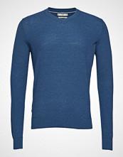 Mango Man Cotton Cashmere-Blend Sweater Strikkegenser M. Rund Krage Blå MANGO MAN