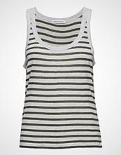 T by Alexander Wang Striped Slub Jersey Tank T-shirts & Tops Sleeveless Hvit T BY ALEXANDER WANG