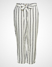 Violeta by Mango Striped Linen-Blend Trousers Vide Bukser Creme VIOLETA BY MANGO