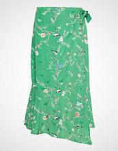 Coster Copenhagen Skirt W. Wrap Look In Birdprint Knelangt Skjørt Grønn COSTER COPENHAGEN
