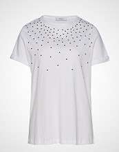 Violeta by Mango Beaded Cotton T-Shirt T-shirts & Tops Short-sleeved Hvit VIOLETA BY MANGO