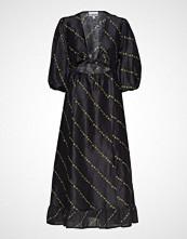 Ganni Silk Linen Dress Knelang Kjole Svart GANNI