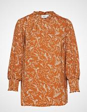 Saint Tropez U1010, Woven Top L/S Bluse Langermet Oransje SAINT TROPEZ