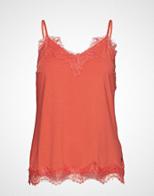 Coster Copenhagen Strap Top W. Lace T-shirts & Tops Sleeveless Oransje COSTER COPENHAGEN